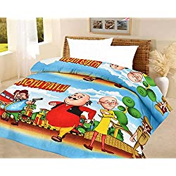 Frabjous Motu-Patlu Cartoon Prints Polycotton Double Bed Reversible AC Dohar/Blanket/Quilt For Kids (Multi) Diwali Gift for Home