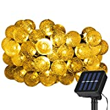 String Lights Solar Powered Crystal Ball Starry Fairy Decoration Lights Ambiance Lighting for Outdoor / Indoor, Garden Fence Path Patio Christmas Party (Yellow)