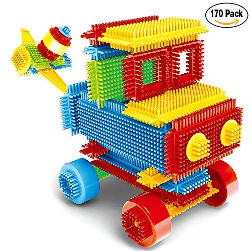 NEEDOON 170pcs Kleinkind Spielzeug Kunststoff Konstruktions Bausteine für Kinder Kreatives Spielzeug