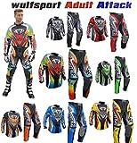 WULF ATTACK Adulti Tuta Moto Pantaloni e jersey MotoCross Scooter Enduro Sci Tuta da ginnastica (L /...
