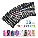 16 Farben Set Nail Art Pen - MEIWO 3D Nail Art DIY Dekoration Nagellack Pen Set 3D Design Nagel Beauty Tools Paint Pens
