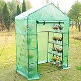 Outsunny - Serra da giardino per piante con scaffali, (143x73x195cm) con tetto spiovente