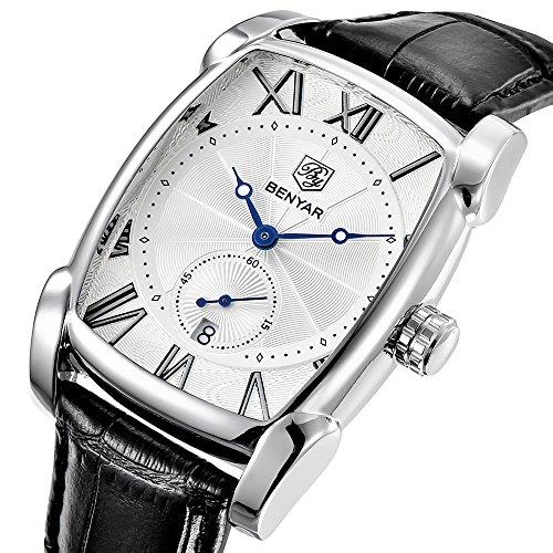 Benyar orologio da uomo classico rettangolo numeri romani Dial vintage...