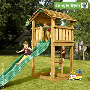 spielturm jungle gym cottage 200x160x280 cm spielhaus mit rutsche spielzeug. Black Bedroom Furniture Sets. Home Design Ideas