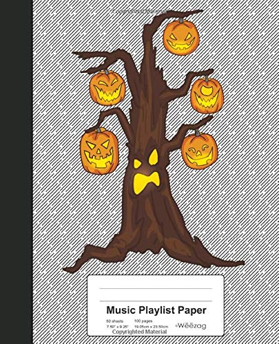 Music Playlist Paper: Book Halloween Pumpkin Tree (Weezag Music Playlist Paper Notebook, Band 155)