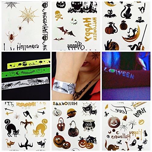 Halloween Party Spass Mega Set 50 Tattoos + 3 Schnapparmbänder alles leuchtet bei Dunkelheit in einem günstigen Set