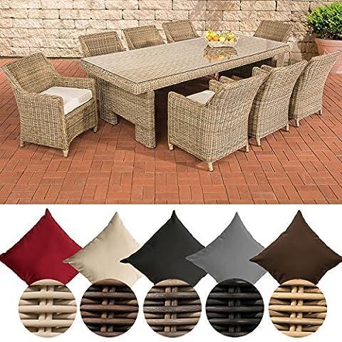 CLP Poly-Rattan Sitzgruppe SANDNES XL, 5 mm RUND-Geflecht (8 Stühle + Tisch ca. 250 x 110 cm) Rattan Farbe natura, Bezugfarbe creme