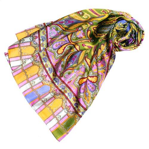 Lorenzo Cana Luxus Seidenschal aufwändig bedruckt Paisley Muster Schal 100% Seide 50 x 165 cm harmonische Farben Damentuch Schaltuch -