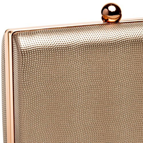 CASPAR TA402 Donna Clutch Rigida Metallizzata con Catena oro rosa