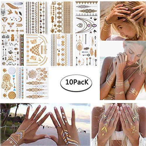Tatoo temporanei metallico oro e argento tattoo adesivi tattuaggi temporanei 10 fogli per le ragazze adolescenti ragazze body art (argento oro #2)
