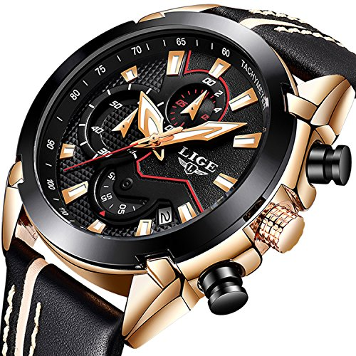 Herren Chronograph Uhren Big Face Multifunktional Wasserdicht Datum Kalender Armbanduhr für Herren mit Schwarz Leder Band Fashion Luxus Business Casual Herren Sport Quarz Business Watch