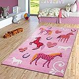 TT Home Kinder Teppich Pferde Design Konturenschnitt Kinderzimmer Teppiche Pink Lila, Größe:120x170 cm