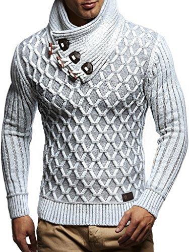 Leif Nelson Herren Strick-Pullover Schalkragen Slim Fit Winter Sommer Moderner Männer schwarzer Pulli T-Shirt Langarm mit Kragen Herren Hoodie-Wollpullover LN5385 Ecru-Grau XX-Large -