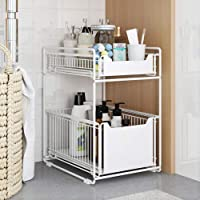 ZYHA Organisateur sous évier,tiroir Coulissant,empilable sous l'évier,avec tiroir à Panier Coulissant pour Cuisine et…