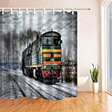 Nyngei Industrial Revolution Lokomotive, Dampflok, Nebel, Schnee-Gewebe-Duschvorhang, mit Haken, 180x 180cm, Badezimmer Zubehör