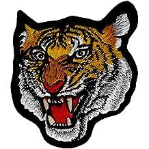 Cabeza de tigre bordado, parche para plancha
