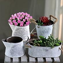 Sue Supply Maceta de hierro de metal con asas de cuerda de cáñamo para flores y