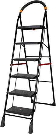 Happer Premium Foldable Step Ladder, Clamber, 6 Steps (Black & Orange)