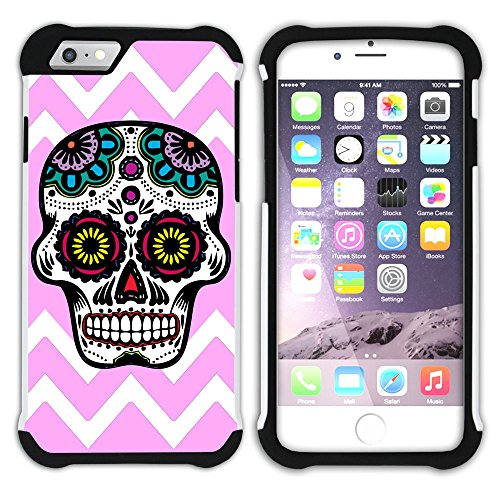 Graphic4You Mexikanische Zuckerschädel Tod Winkel Muster (Wasserblau) Hart + Weiche Kratzfeste Hülle Case Schale Tasche Schutzhülle für Apple iPhone 6 / 6S Hell-Pink