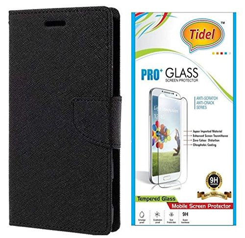 Tidel Premium Table Talk Fancy Diary Wallet Flip Cover Case for Micromax Yu Yureka Plus (Black) With Tidel 2.5D Tempered Glass