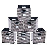 homyfort Lot de 6 Boîtes/Tiroirs en Tissu Cube de Rangement Pliable Coffre pour Linge, Jouets, Vêtement 30 x 30 x 30 cm Zigzag Gris/Blanc XBB06P