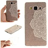 Ecoway TPU Funda Case for Samsung Galaxy A5(2015) , Ultra Thin Carcasa Anti Slip Soft Bumper Scratch Resistant Back Cover Crystal Clear Flexible Silicone Case Parachoques Carcasa Funda Bumper - Flores blancas medias