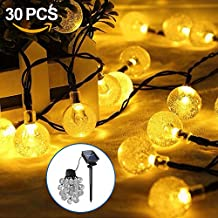 Guirnalda de Luces Solar, Opamoo Cadena Solar de Luces 6,5M 30 LED Cristal Luz de Bola de Exterior de luces Decorativas para Jardín Patio Bodas Terraza Árbol de Navidad - Blanco Cálido