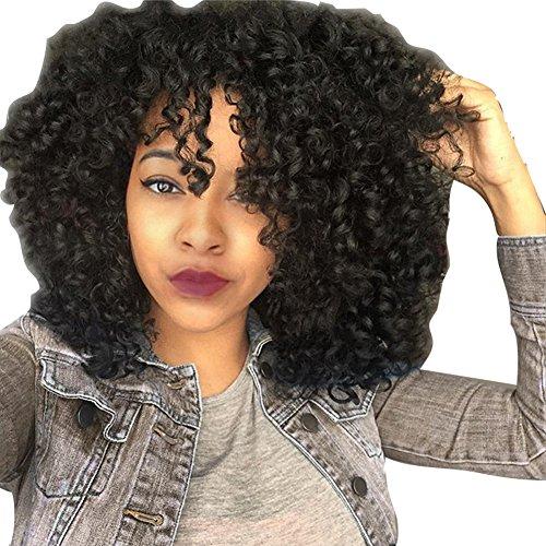 e Perücken Kurz Schwarz Frauen Echthaar Lockige Haar Synthetic Natur Full Bob Perücke Afrikanische Modisch Flauschige Curl Perücken Black Wig Hitzebeständig ()