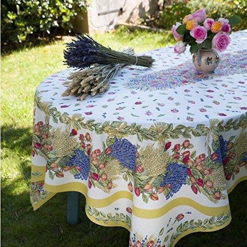 Nappe coton enduit rose et lavande 2m50 x 1m55 Motif placé