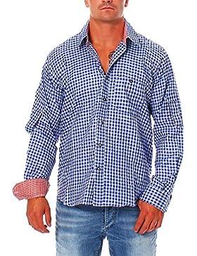 Engelleiter Herren Trachten Hemd Oberhemd Blau Weiß Kariert Trachtenhemd