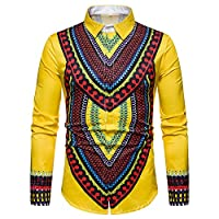 TIMEMEAN Dashiki Men African T Shirts for Men Clothes Print Top Long Sleeve Yellow