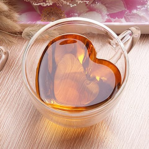 BeiBeiLove Universe Double Wall Glass Tea & Coffee Espresso Cup Glasses, Heart Shaped, Set of 4 (240ml) by BeiBeiLove