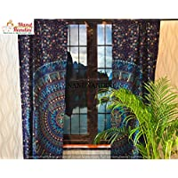 Lindong Mandala Motiv Gardinen mit /Ösen Dekoschal /Ösenvorhang f/ür Wohnzimmer Schlafzimmer Kinderzimmer 1er-Pack dunkelblau 100x160cm