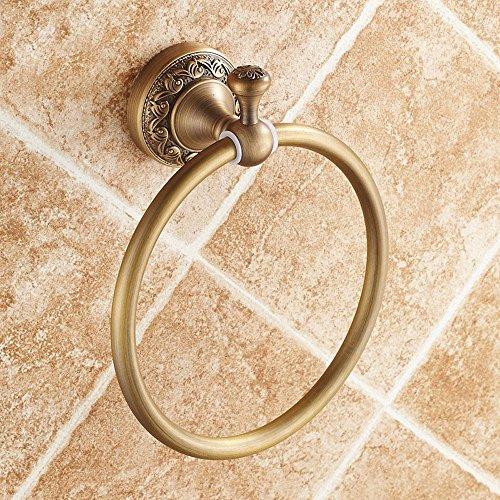 LINA@ Antiquariato in ottone massiccio portasciugamani Anello stile vintage Accessori bagno incisa Deluxe