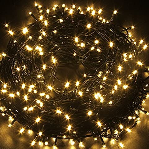 MORNINGSUN Solar Powered Decorative Twinkle LED Lights 39.4ft 100 Light Bulbs Waterproof Colorful Changing Starry Fairy Outdoor String Lights for Patio,Gardens,Indoor Decor,Lawn,Wedding Party(Warm White