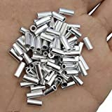 JSHANMEI 100pcs/lot Round Aluminium Single Crimp Sleeves Fishing Tube Fishing Wire Pipe Leader Rigging Fishing Line Tackle Connector Accessories (1.2mm-100pcs)