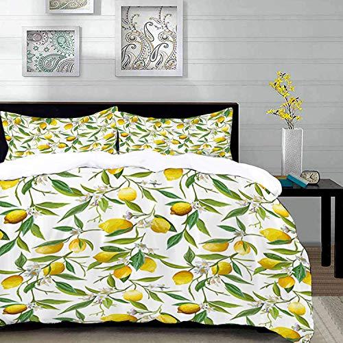 Yaoni Bettwäsche-Set, Mikrofaser,Natur, blühende Zitrone Holzige Pflanze Romantik Lebensraum Zitrusfrucht Frischer Hintergrund, Mehrfarben, 1 Bettbezug 200 x 200cm + 2 Kopfkissenbezug 80x80cm - Zitrusfrüchte Bäume