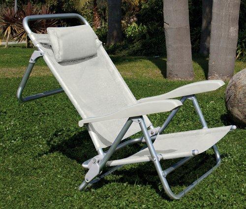 Spiaggina con cuscino e braccioli bianco in alluminio 39x52x16/82h. cm.