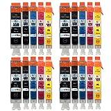 Go Inks C-550/551-5SET-4 Pack de 20 Cartouches d'encre compatible avec Imprimante PGI-550PGBk/CLI-551Bk/CLI-551C/CLI-551M/CLI-521Y Noir/Cyan/Magenta/Jaune