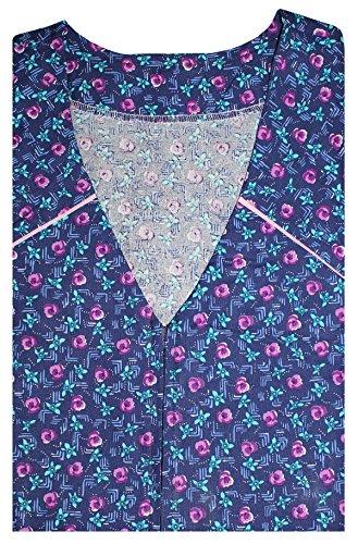 Tobeni Damen Kittelschürze mit Reissverschluss und Tasche 100 Baumwolle Farbe Design 32 Grösse (Kittel Kostüme)