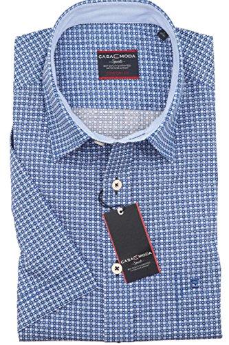 Casa Moda - Comfort Fit - Herren Freizeit 1/2-Arm-Hemd mit modischem Druck in Blau oder Rot, Kent Kragen (972875400) Blau (102)