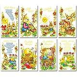 50 Grußkarten zu Ostern Osterhase 8 Motive Osterkarten Klappkarten Umschläge 130-2217