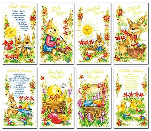 50 Grußkarten zu Ostern Osterhase 8 Motive Osterkarten Klappkarten Umschläge 130-2217 - Ostern Grußkarten