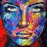 KUNST DRUCK Gemälde Leinwand modern abstrakt Bild 877 Portrait SIGNIERT 120x120