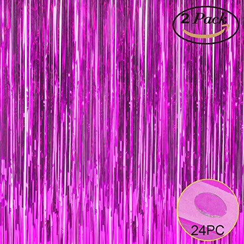 Folie Fransen Metallic Vorhang Hintergründen-mit Ballon Sticks 3,3ftx6.6ft Lametta glänzend Vorhänge Ideal für Foto Booth Party/Fenster/Tür Dekorative Fransen Gardinen, 1Paar Violett (Silber-metallic Tisch Rock)