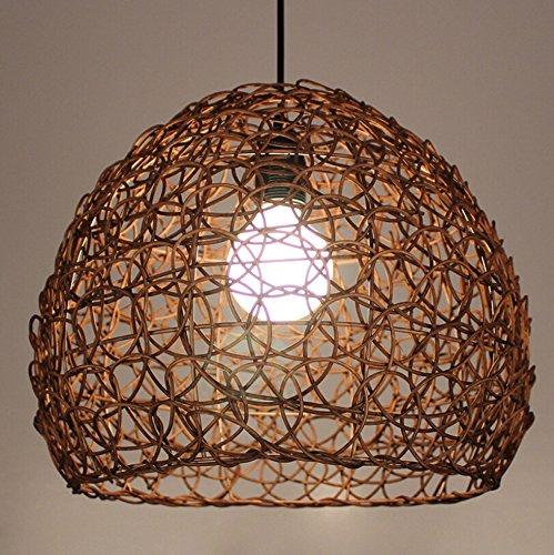 LKMNJ Sepia Industrial Air Home Kronleuchter eine idyllische Rattan Lampe geflochten Rattan Ball (360 * 300 Mm) (Tall, Kronleuchter)