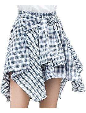 Packitcute Falda a cuadros coreano cintura alta cintura irregular una línea faldas cortas para mujeres