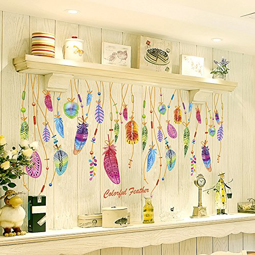 Ouneed® Wandaufkleber Wandtattoo Wandsticker , Feder-Wand-Aufkleber Klassischer Traumfänger-Sofa-Kunst-Abziehbild-Wandmalerei-glücklicher Raum-Dekor