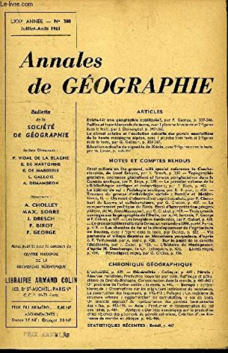 ANNALES DE GEOGRAPHIE N°380 - Existe-t-il une géographie appliquée ?, failles et tremblements de terre, ...