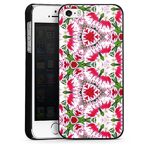 Apple iPhone 4 Housse Étui Silicone Coque Protection Moderne Kaléidoscope Fleurs CasDur noir